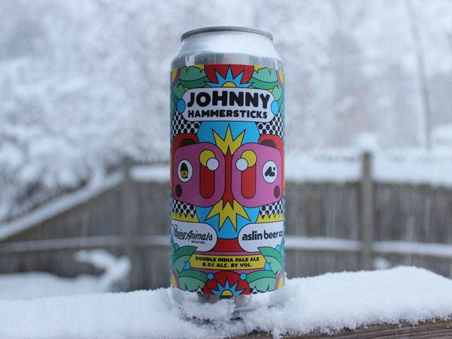 Johnny Hammersticks, a Double IPA brewed by Aslin Beer Company