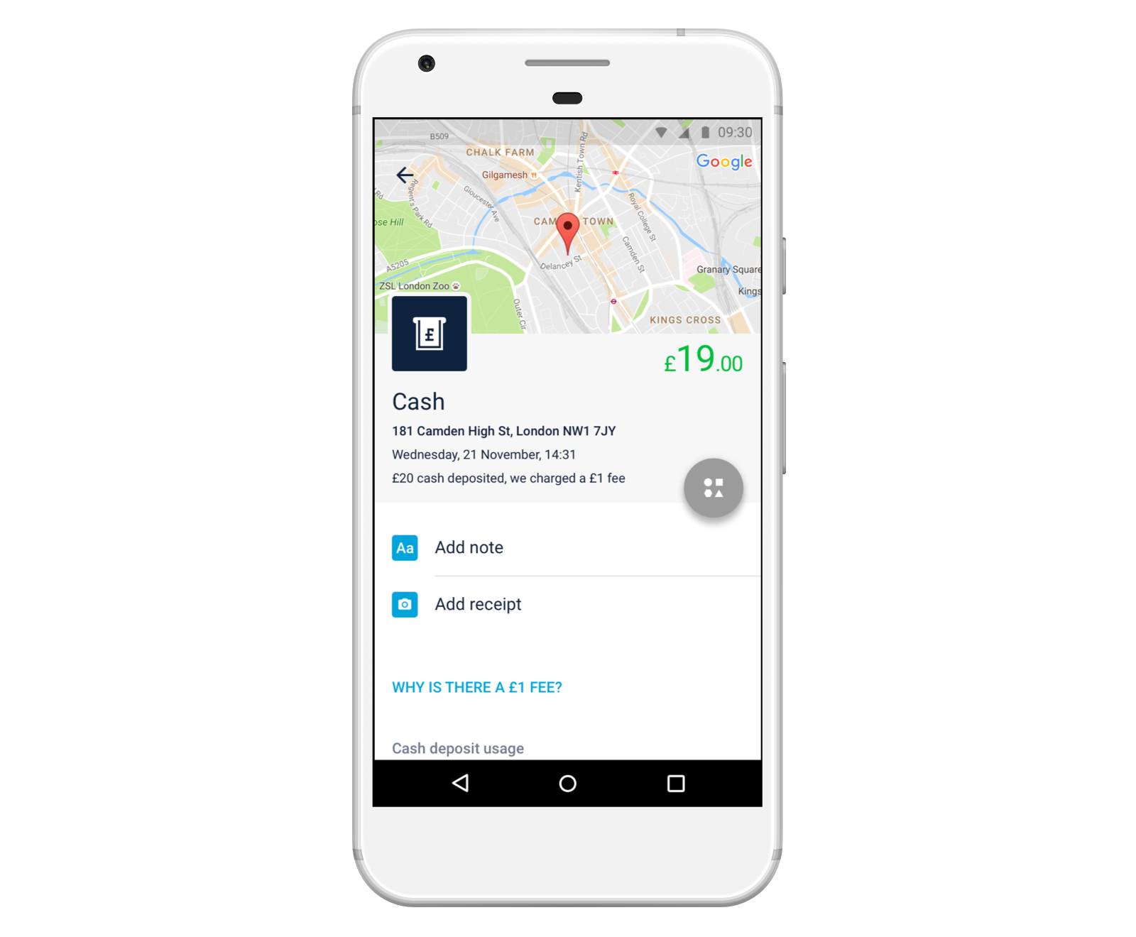 Screen showing a cash deposit transaction in the Monzo app