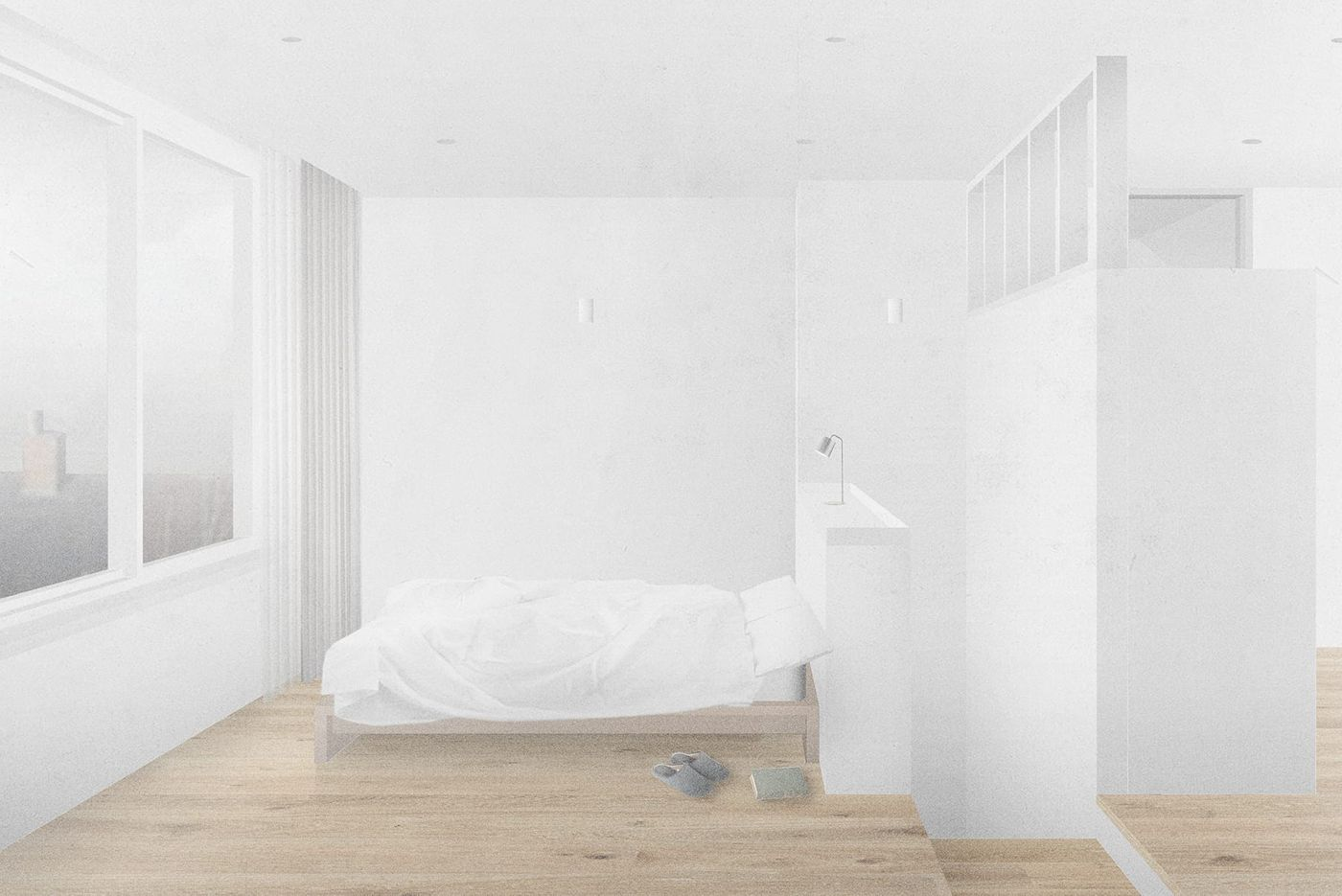 Internal view of new bedroom within the proposed dormer extension and refurbishment for the Whalley Road project designed by From Works.