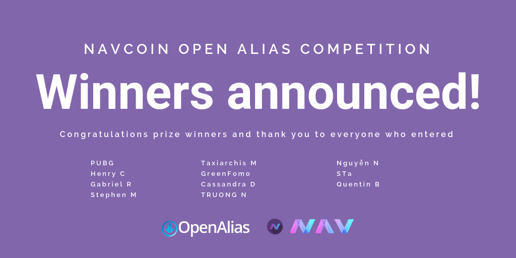 OpenAlias Competition Winners