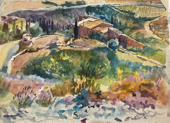 watercolour painting looking down at countryside with farmhouse and cypresses