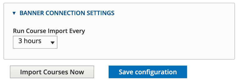 Sample config form for automated SIS connection