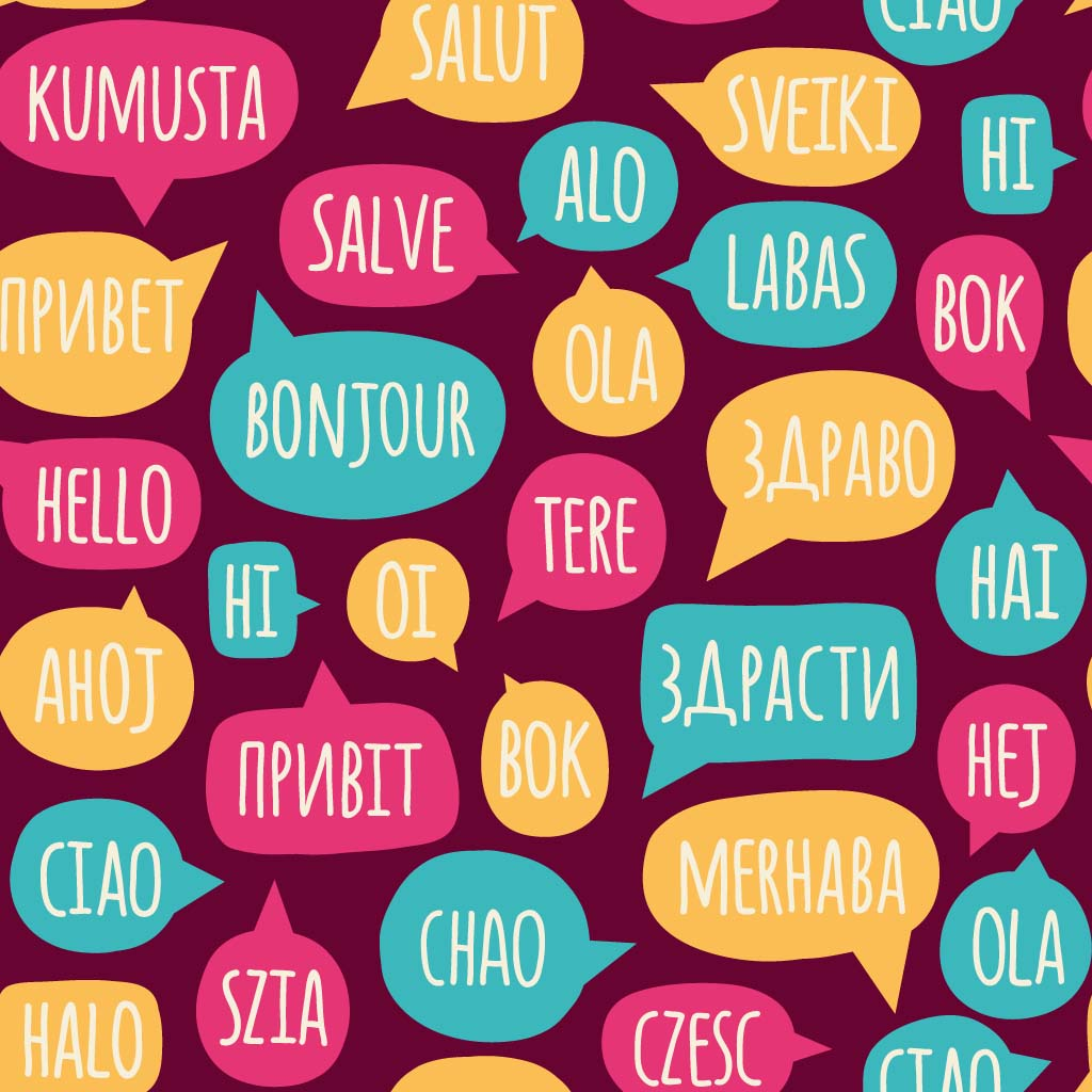 Hello in major languages around the world