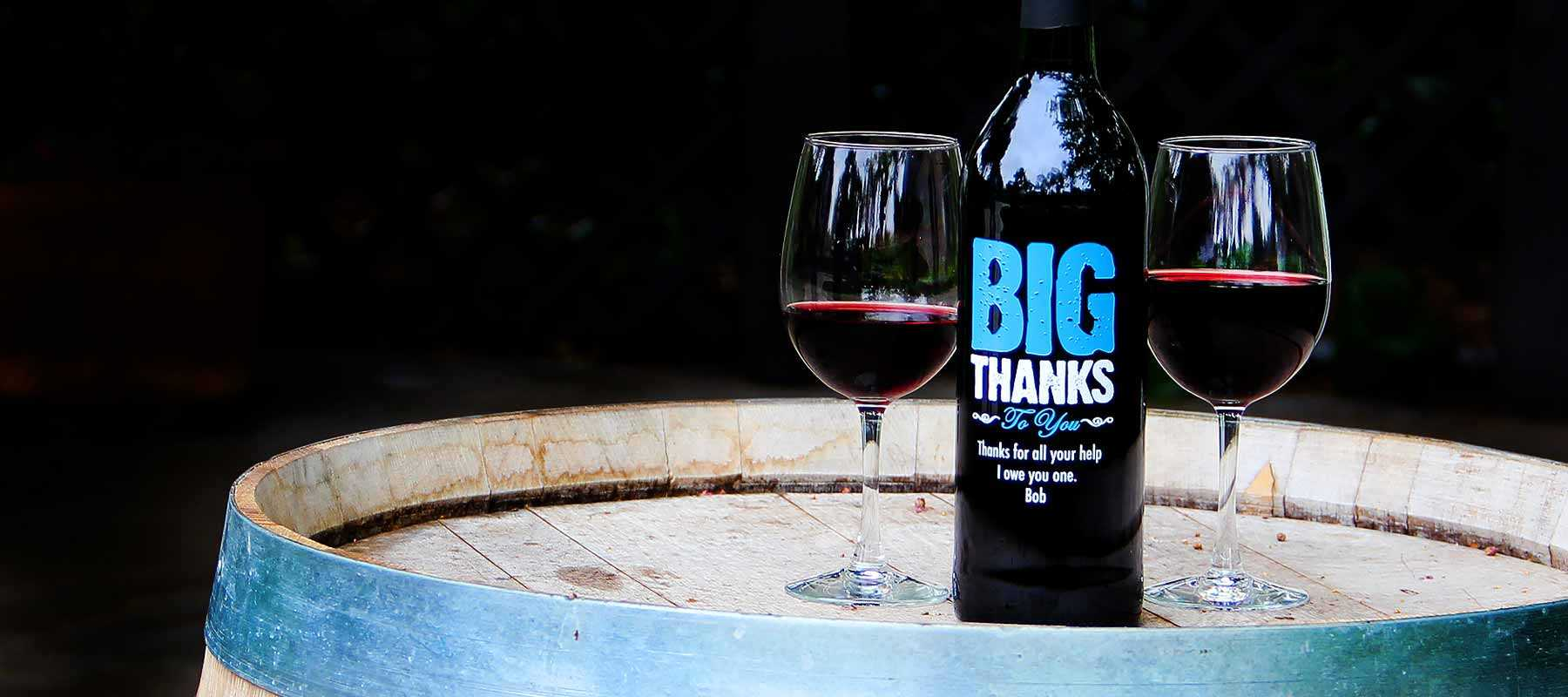 Etching Expressions custom etched thank you wine bottles
