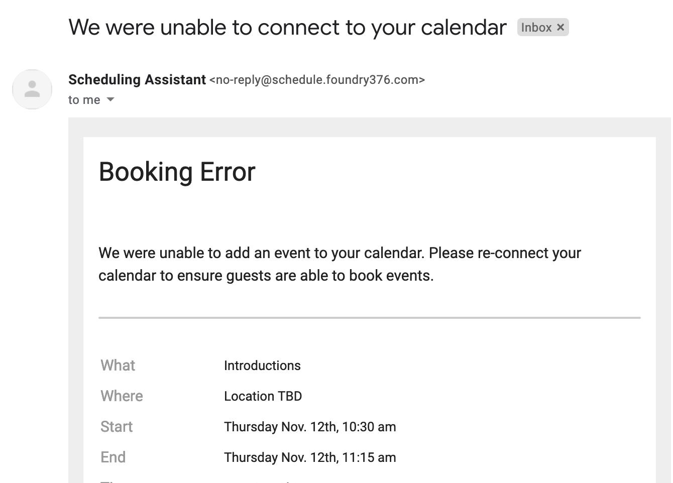 Scheduler Failed Booking