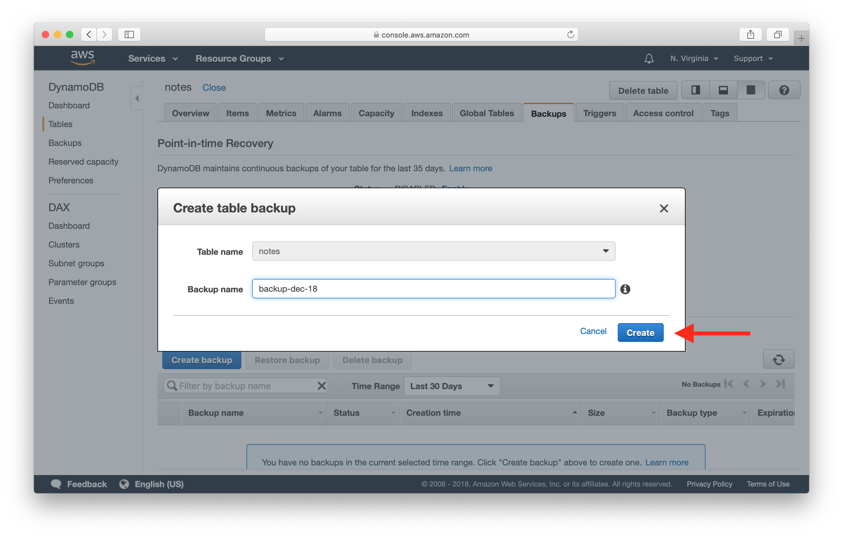 Name DynamoDB table backup screenshot