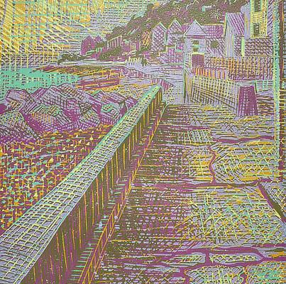 colourful linocut of sea defenses at Sandgate