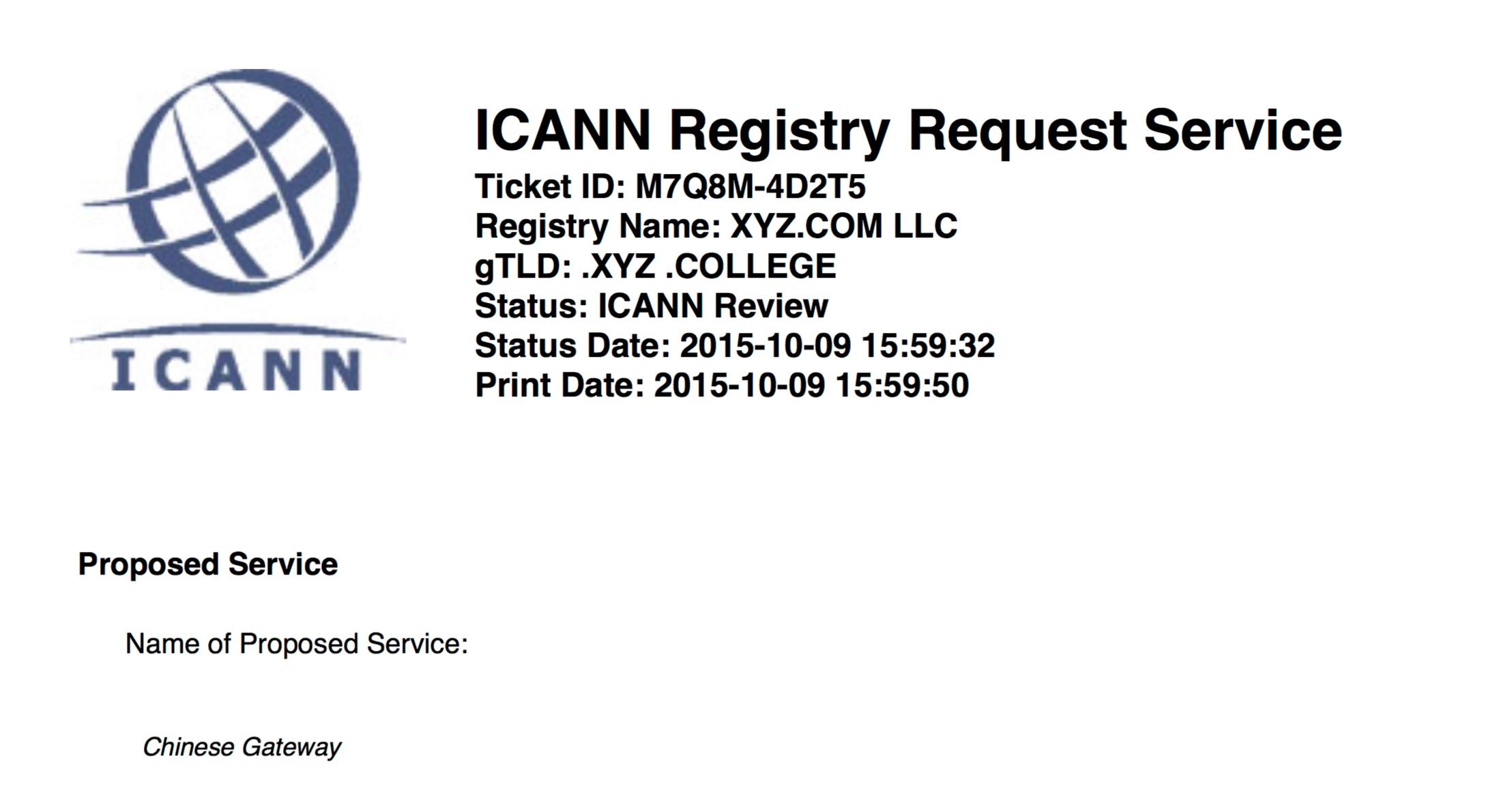 XYZ's ICANN proposal