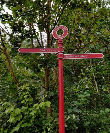 Middleton Park sign to Middleton woods and middleton railway