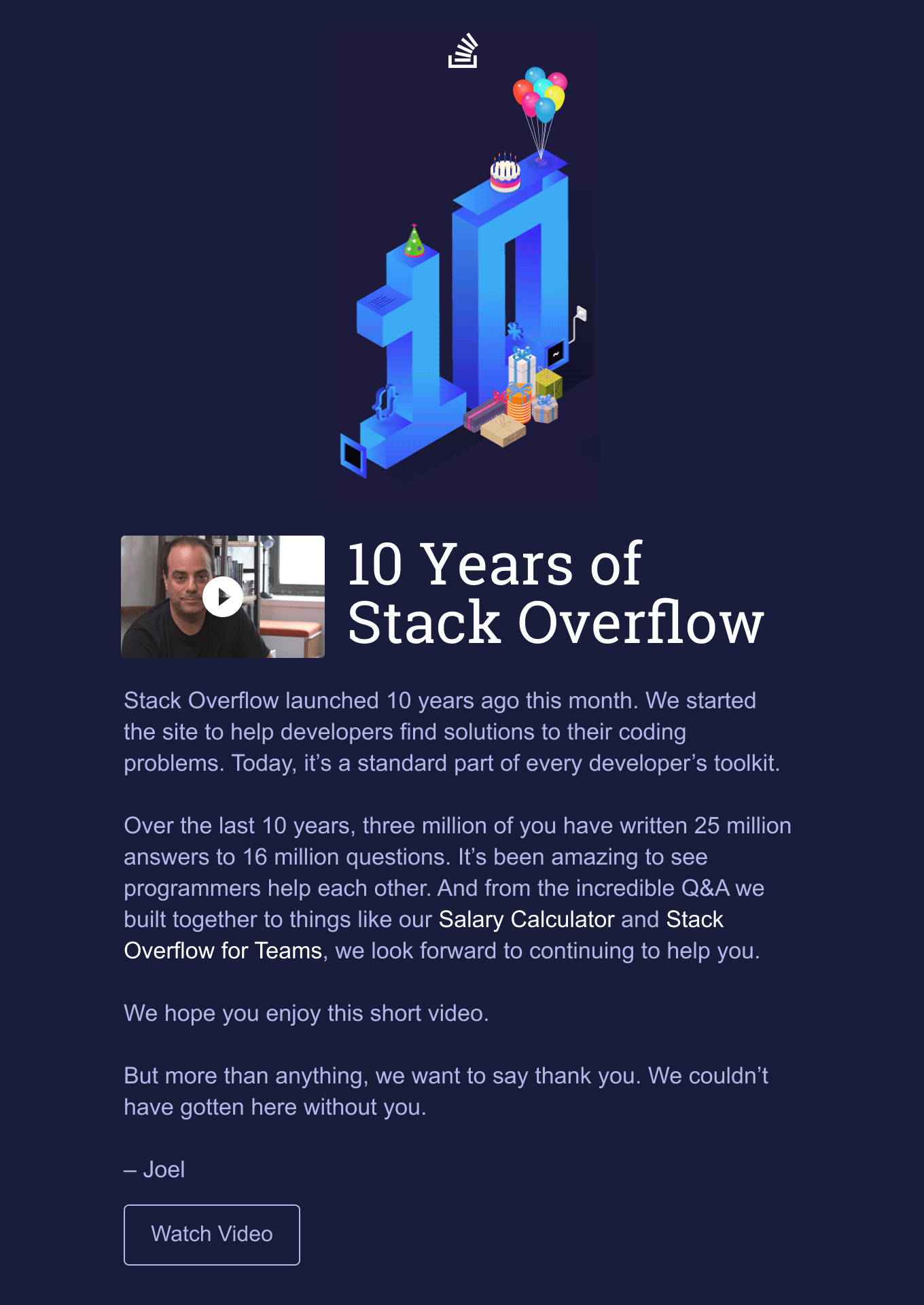 10th anniversary email.