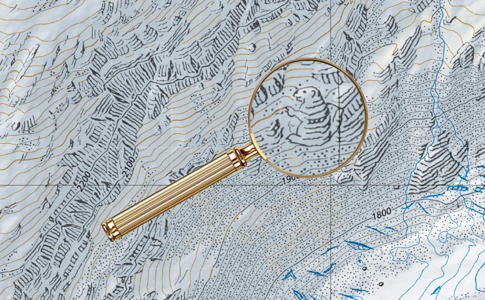marmot drawing hidden in a map
