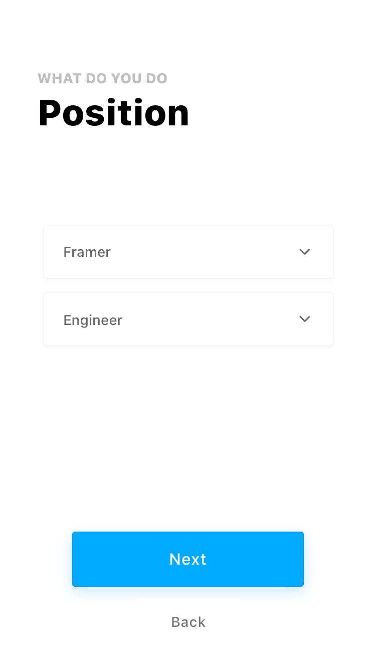 Fiber UI Kit: dropdown selection state screen