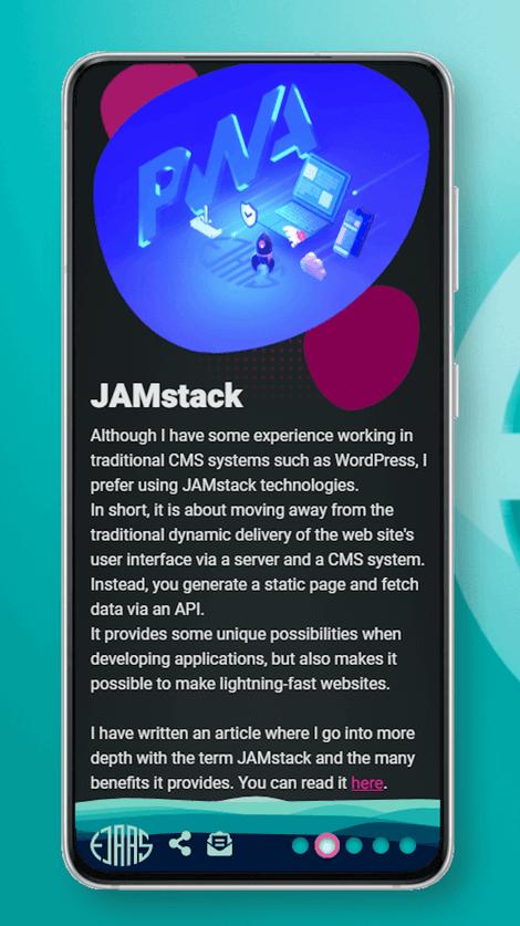 Screenshot of larsejaas.com webdevelopment page on smartphone