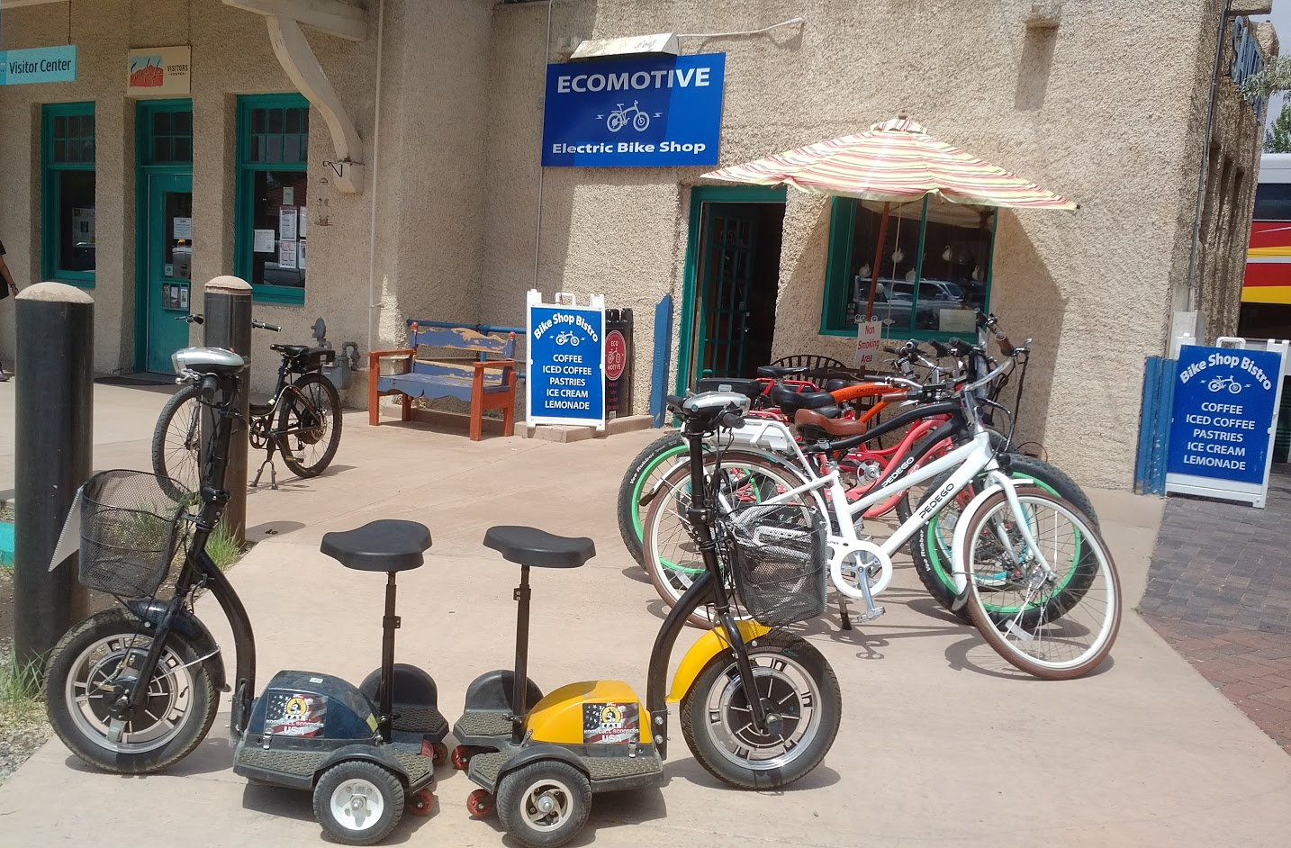 Santa Fe, NM bike rental shop attached to the train station.