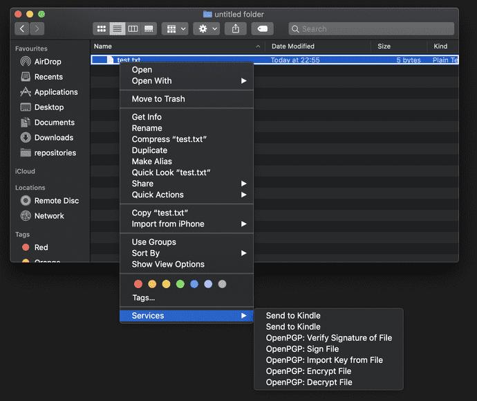 encrypt context menu