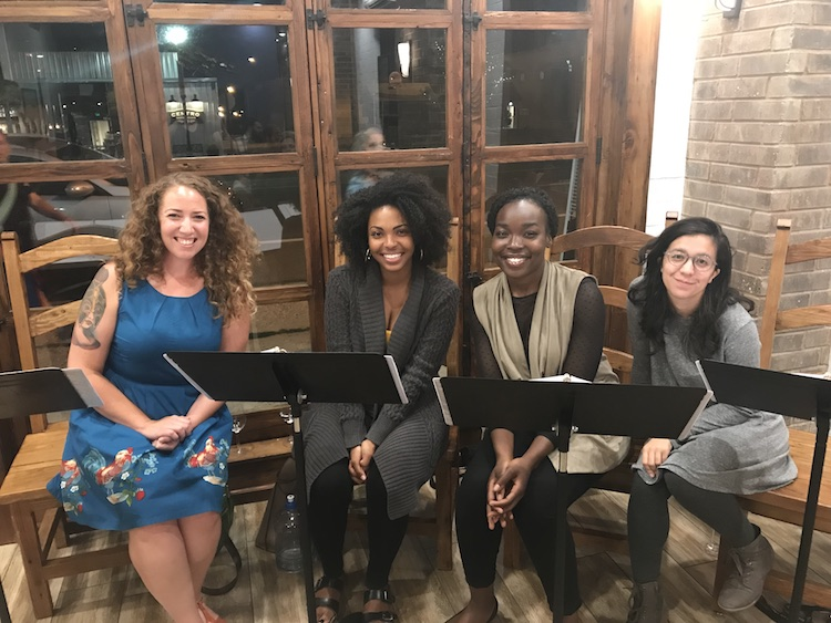 Playwright with actors from BURST reading 8/4/2018.