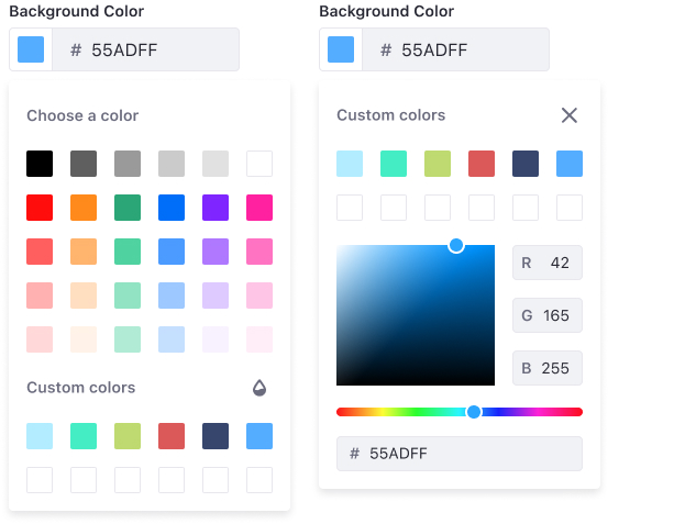 Color picker at its unrestricted version where a predefined color palette is shown along with the custom palette and panel