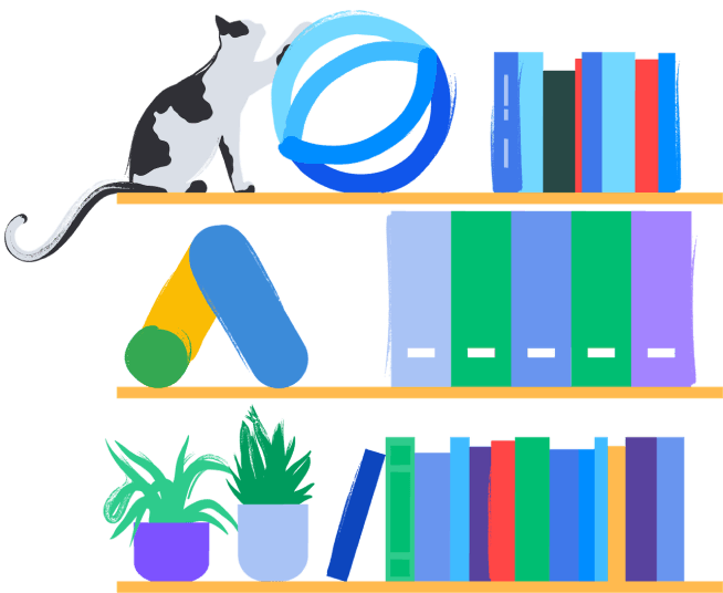 Illustration of an Opteo book shelf in the office.