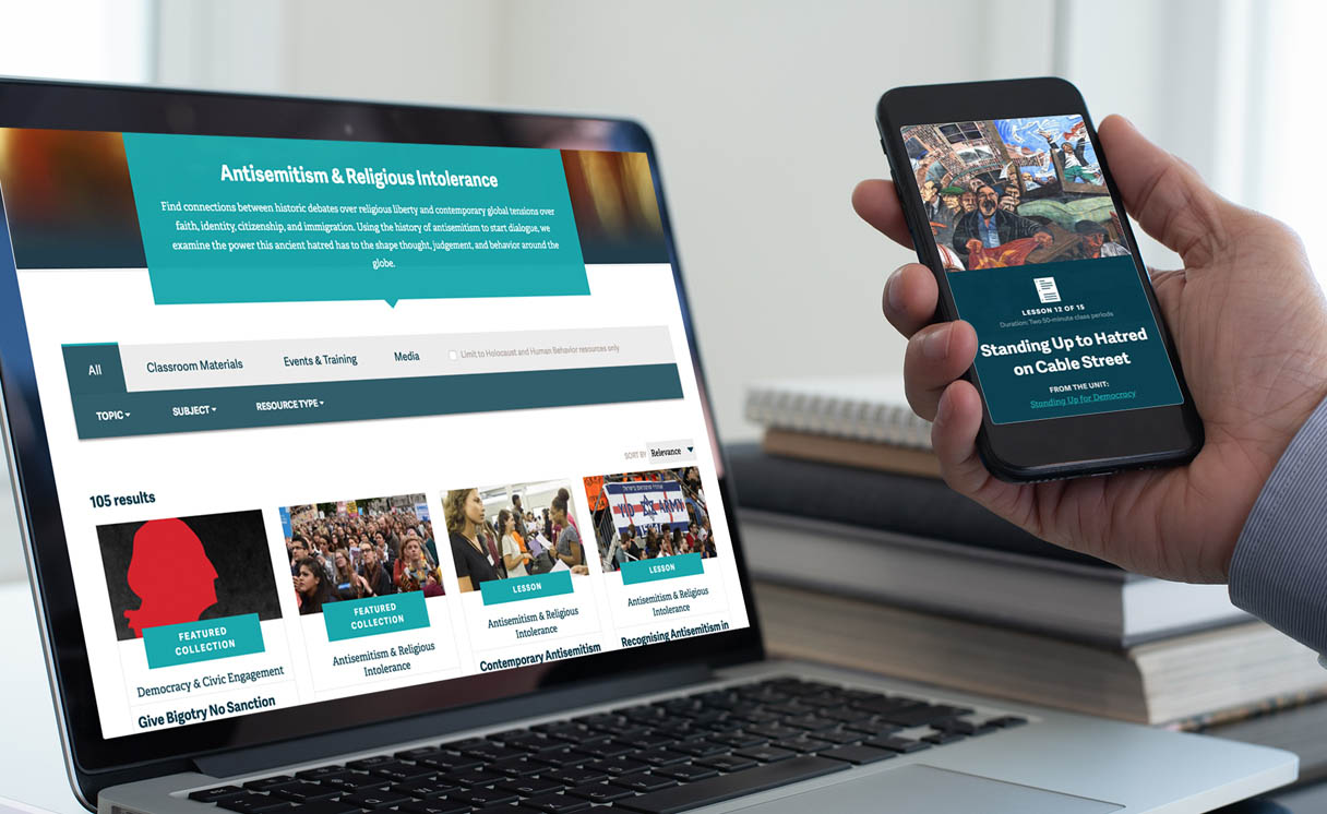 The Facing History website as viewed on a laptop and a smartphone