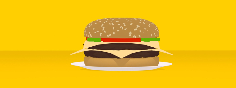 AA Insurance still of burger in front of yellow background