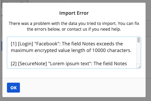 Cipher errors in the Web Vault