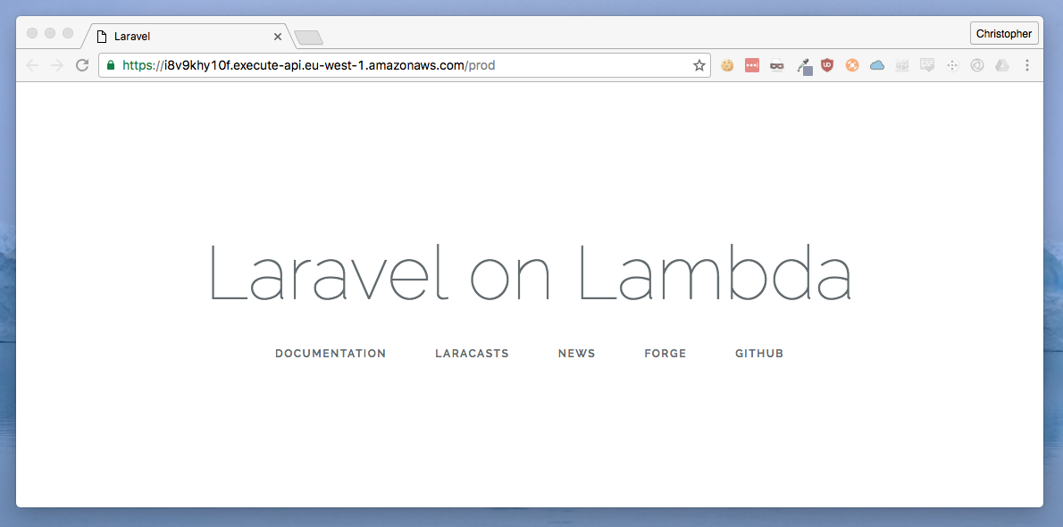 Laravel running on Lambda