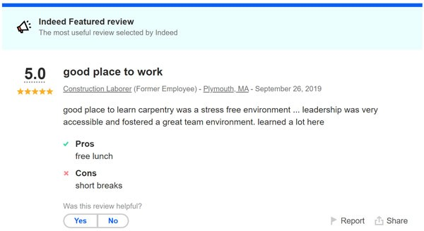 Employment job review from Indeed for MDH Construction in Plymouth, MA