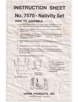 Union Products Nativity Set #7570 Instruction Manual.pdf preview
