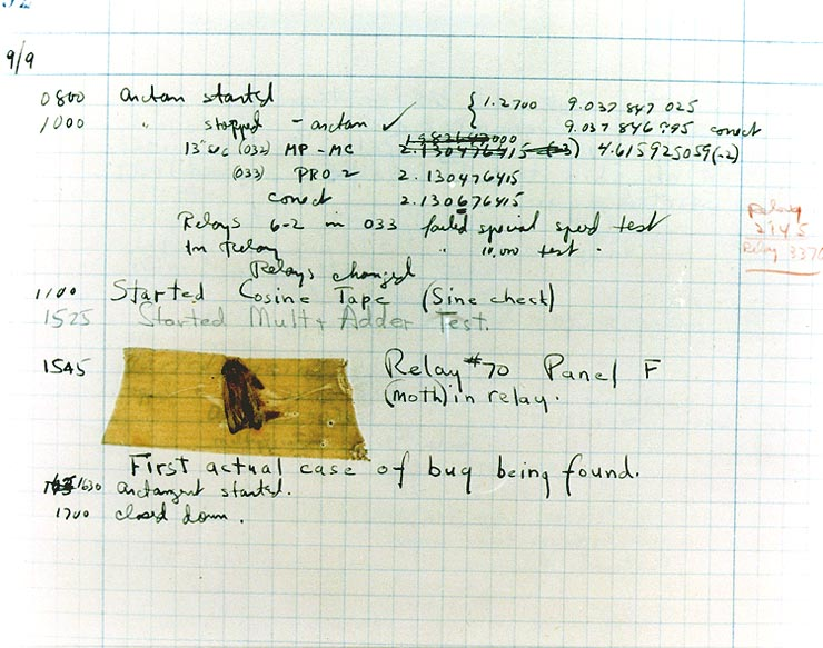 18.1: A 1947 entry in the log book of the Harvard MARK II computer containing an actual bug that caused a hardware malfunction. By Courtesy of the Naval Surface Warfare Center.