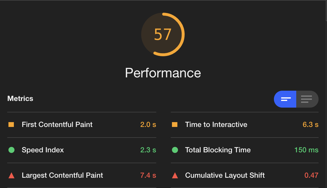 Performance metrics. First contentful paint: 2.0s, Time to Interactive: 6.3s, Speed Index: 2.3s, Total Blocking Time: 150ms, Largest Contentful Paint: 7.4s, Cumulative Layout Shift: 0.47
