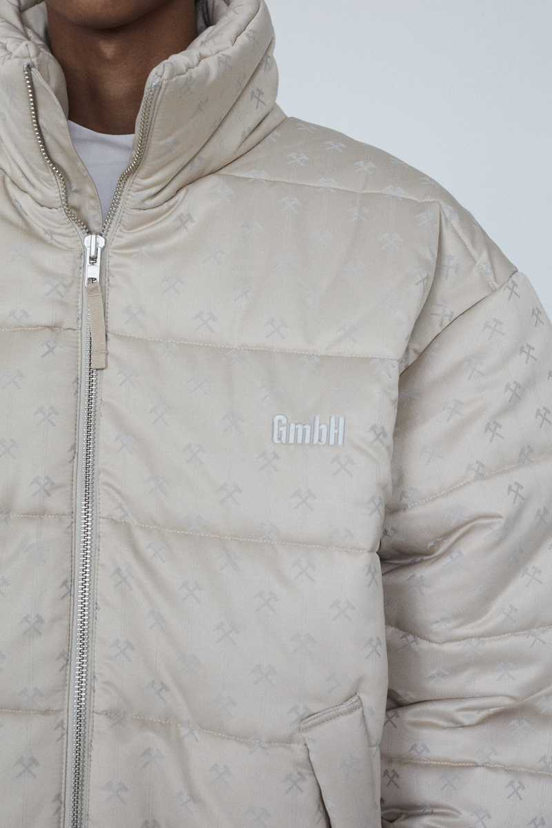 GmbH AW19 DEBS PUFFER COAT BEIGE FRONT DETAIL