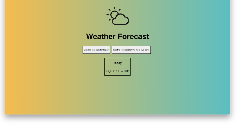 A screenshot of the home page of my Weather App project