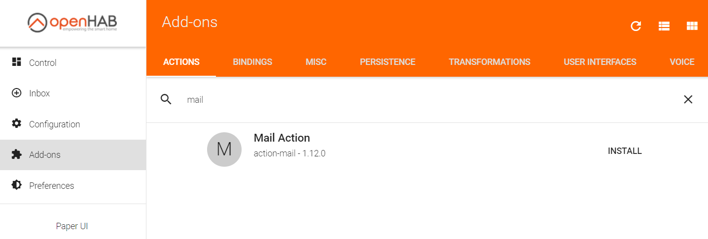 Installing the openHAB mail add-on
