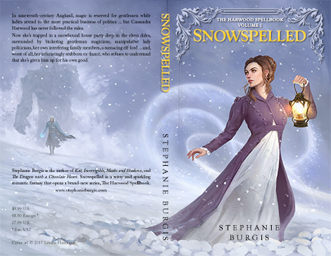 Print cover for Snowspelled, by Stephanie Burgis. Original art by Leesha Hannigan.