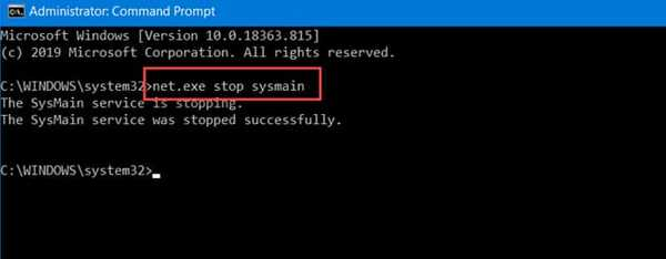 Disable SysMain/Superfetch Service using CMD