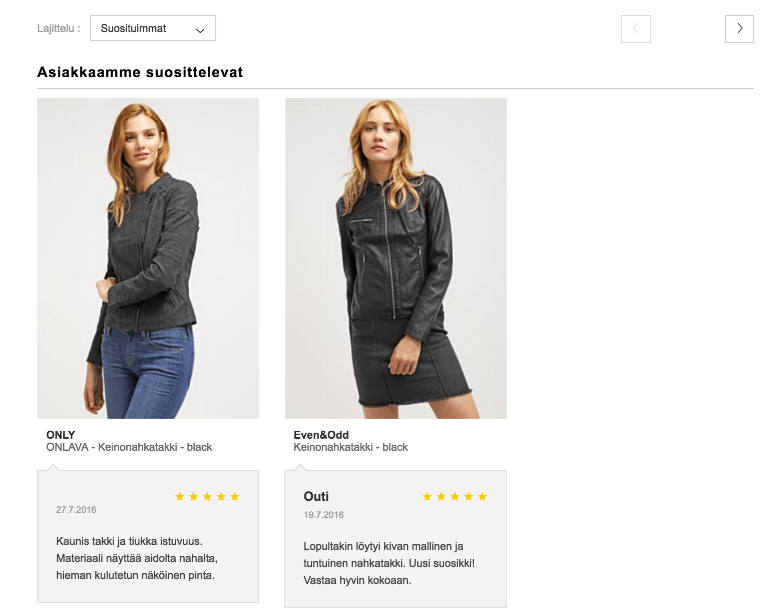 Zalando incorporates product reviews as well