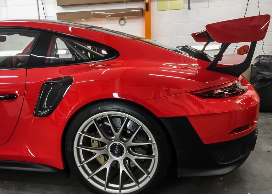 Paint protection film on Porsche 911 GT2RS red car