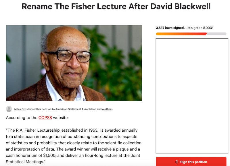 Rename the Fisher lecture after David Blackwell