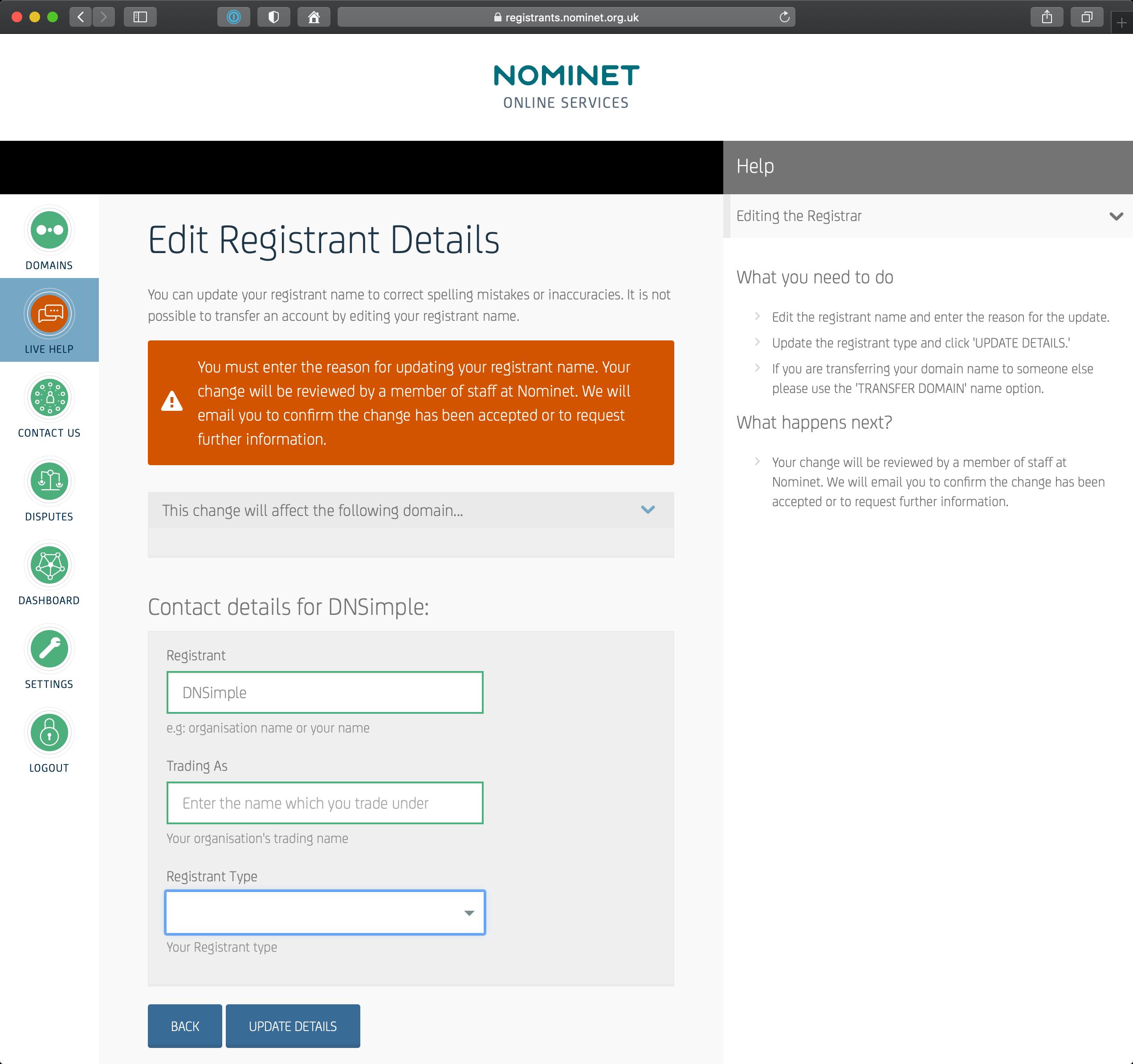 Enter Registrant