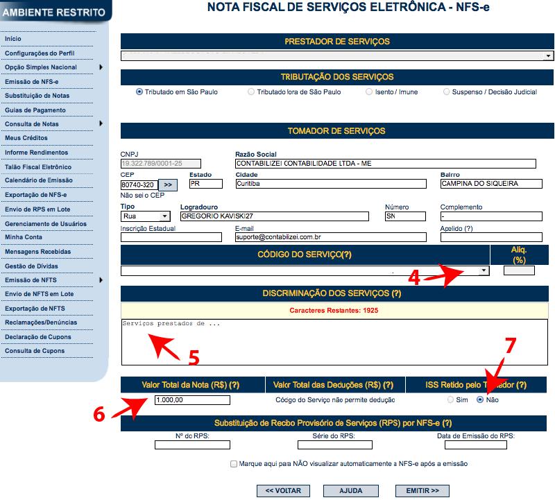 Passos 7, 8, 9, 10, 11, 12 e 13 de como emitir nota fiscal paulistana no simples nacional
