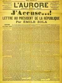 Front page cover of the newspaper L'Aurore for Thursday 13 January 1898, with the open letter J'Accuse…!, written by Émile Zola about the Dreyfus affair. The headline reads 'I Accuse...! Letter to the President of the Republic'—Paris Museum of Jewish Art and History