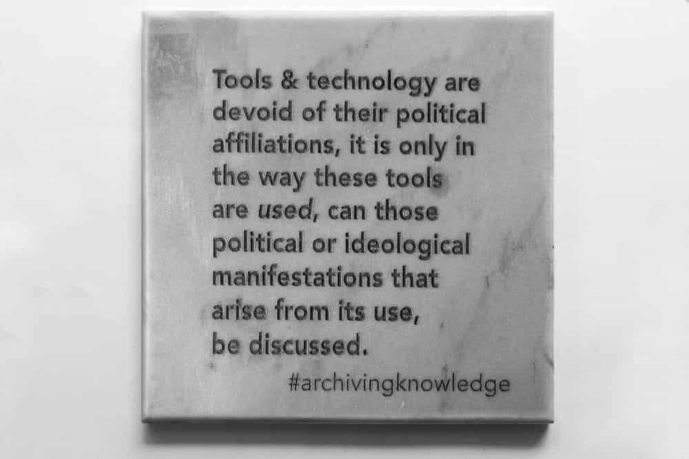 Tools & Technology are devoid of their political affiliations, it is only in the way these tools are used, can those political or ideological manifestations that arise from its use, be discussed, From the series: Archiving Knowledge, hand engraved marble, 2018