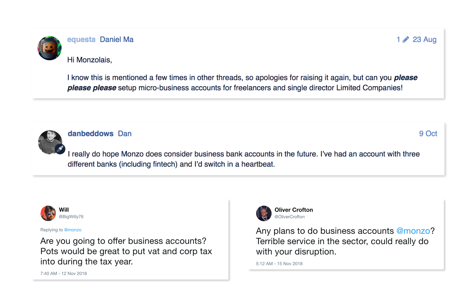 Community forum comments asking if Monzo is going to do business accounts