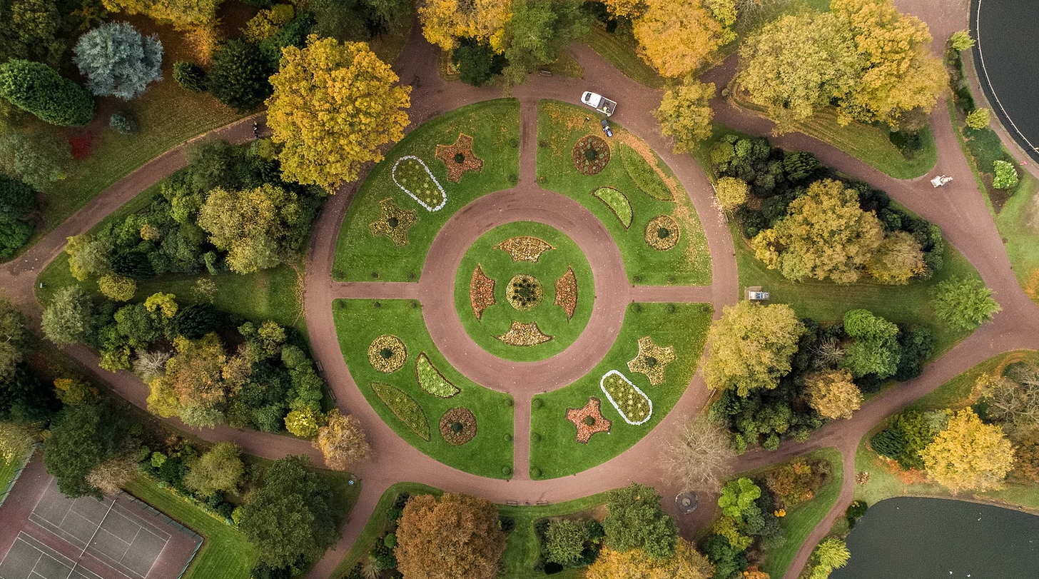 Circular park with trees, view from above
