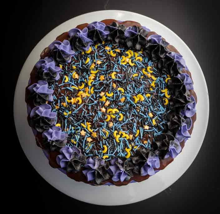 vegan purple halloween cake with sprinkles