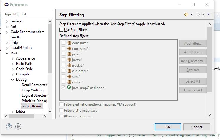 Screenshot of eclipse step filtering