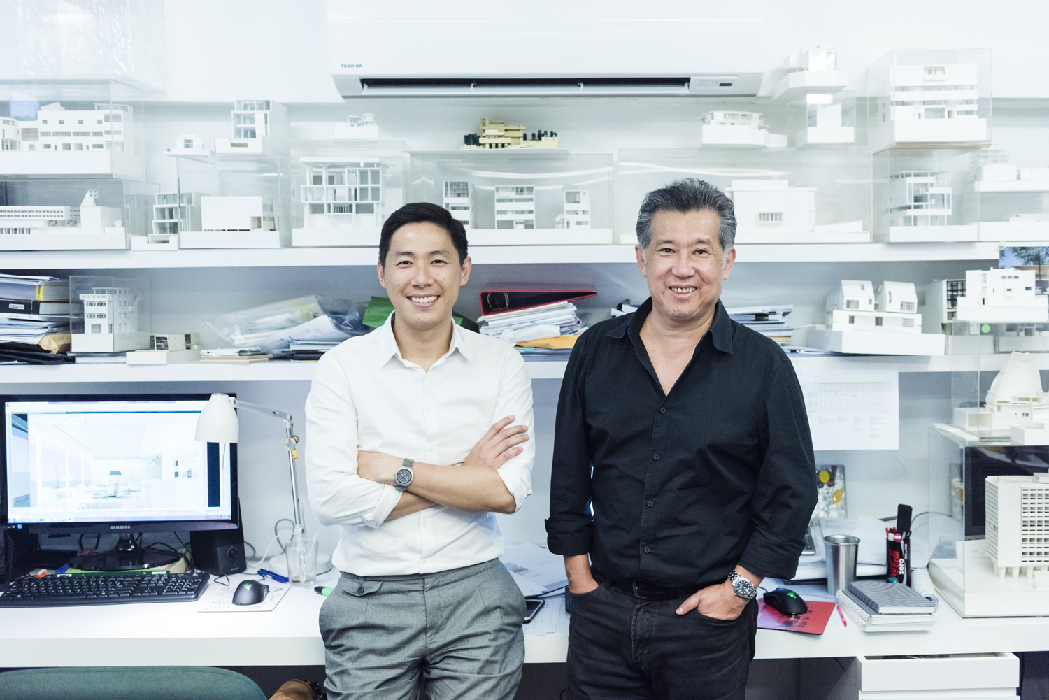 Architects Rene Tan and Jonathan Quek at their office
