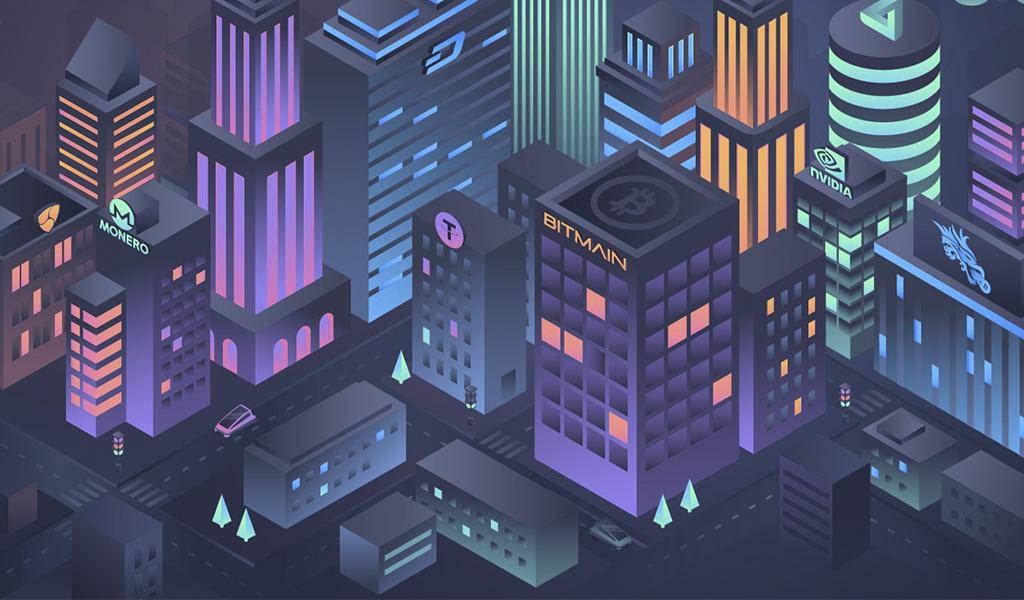 Uma cidade isométrica vista de cima