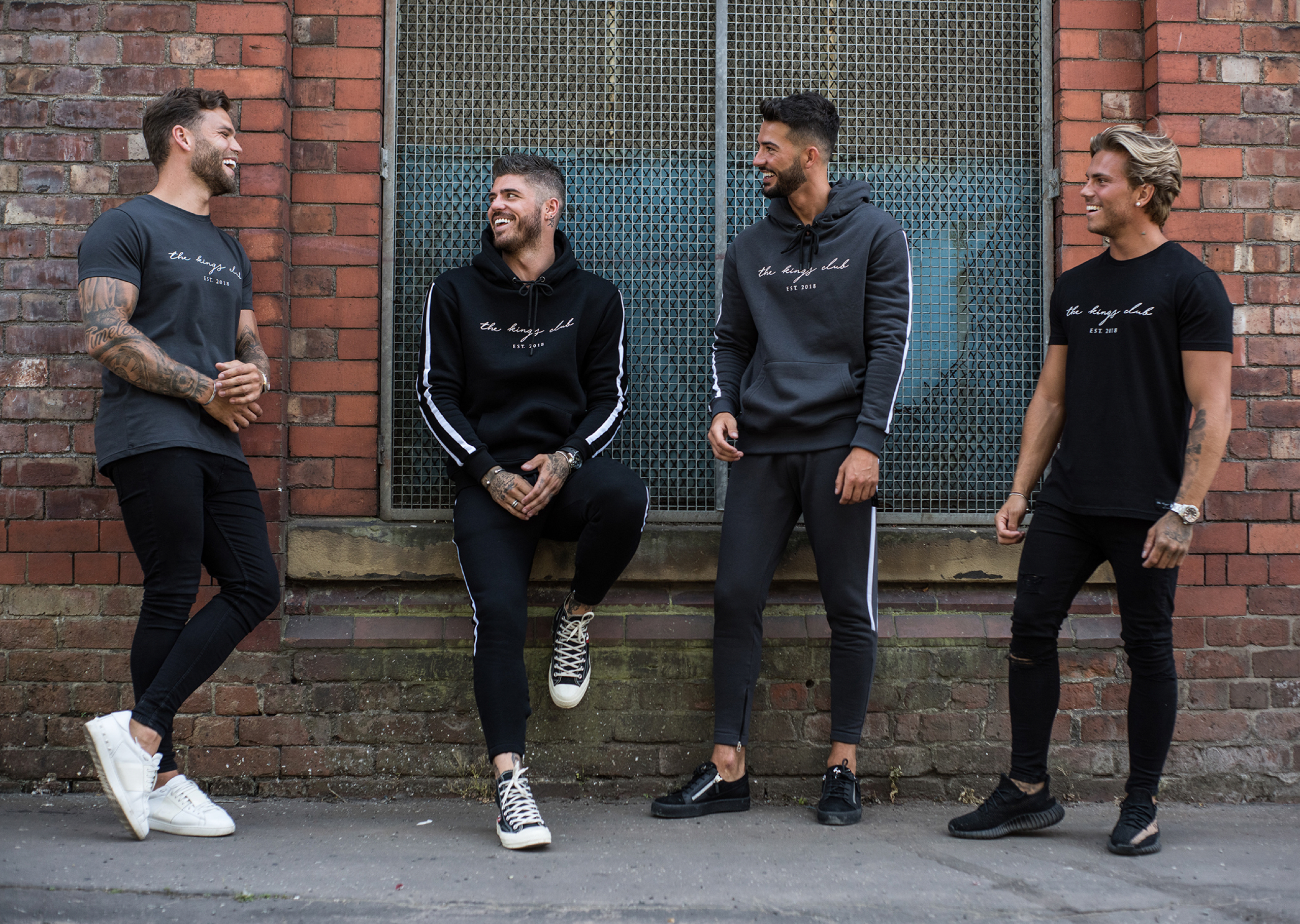 Dom Lever, Sam Reece, Dean Overson and Jordi Whitworth wearing The Kings Club clothing