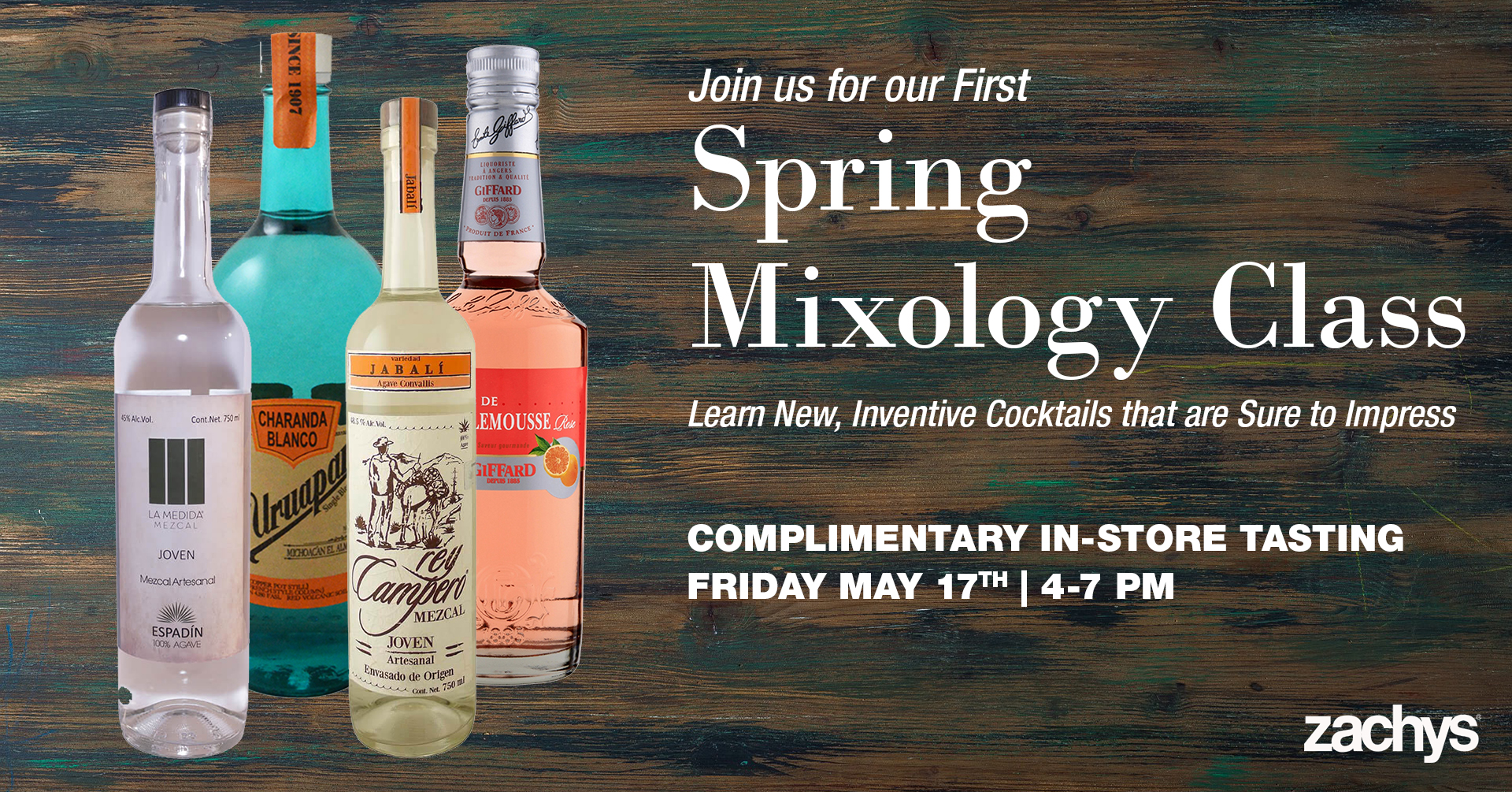 spring mixology class tasting event banner, on blue and brown stained wood